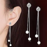 Сережки Підвіски, медсплав, жіночі сережки з кристалом і перлинами FS-1721-75