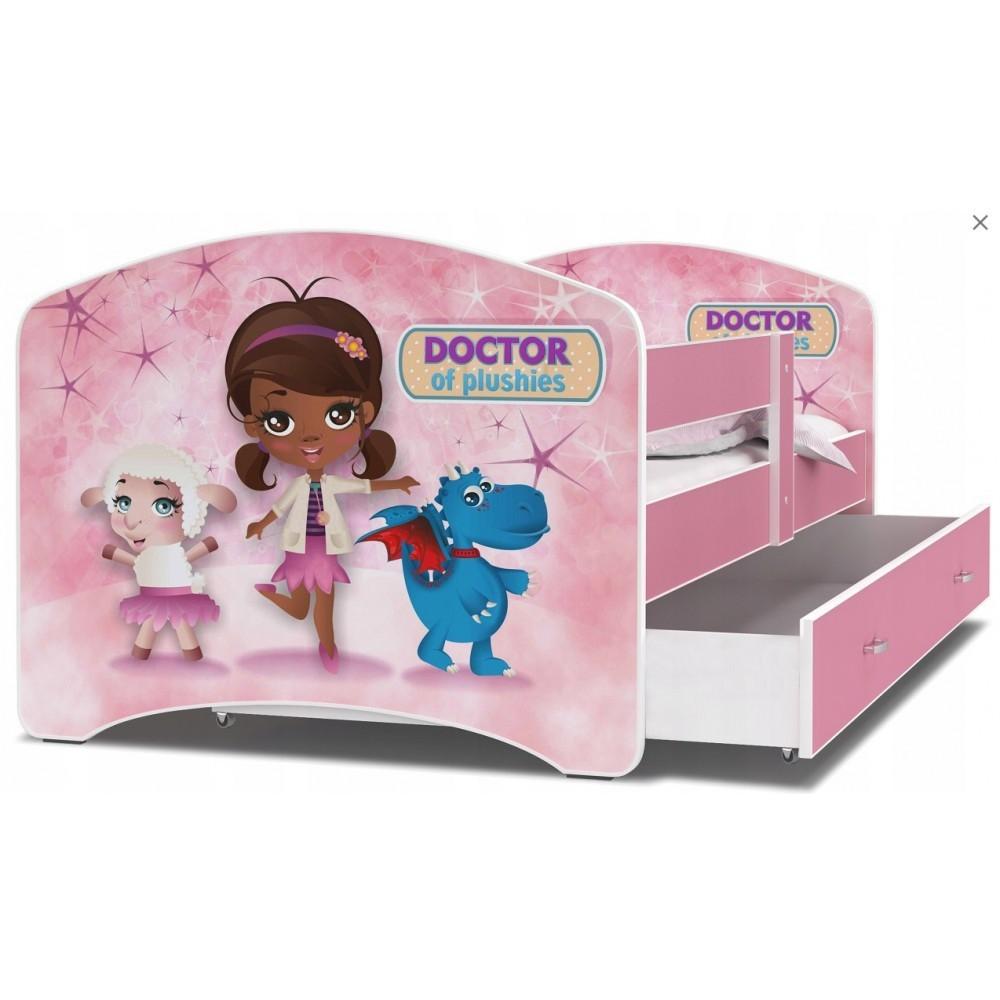 Дитяче ліжко з бортиками і ящиком Luki П160х80 см (50L) + матрац