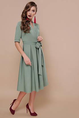 Красивое женское платье миди расклешенное цвета хаки, S(44), фото 3