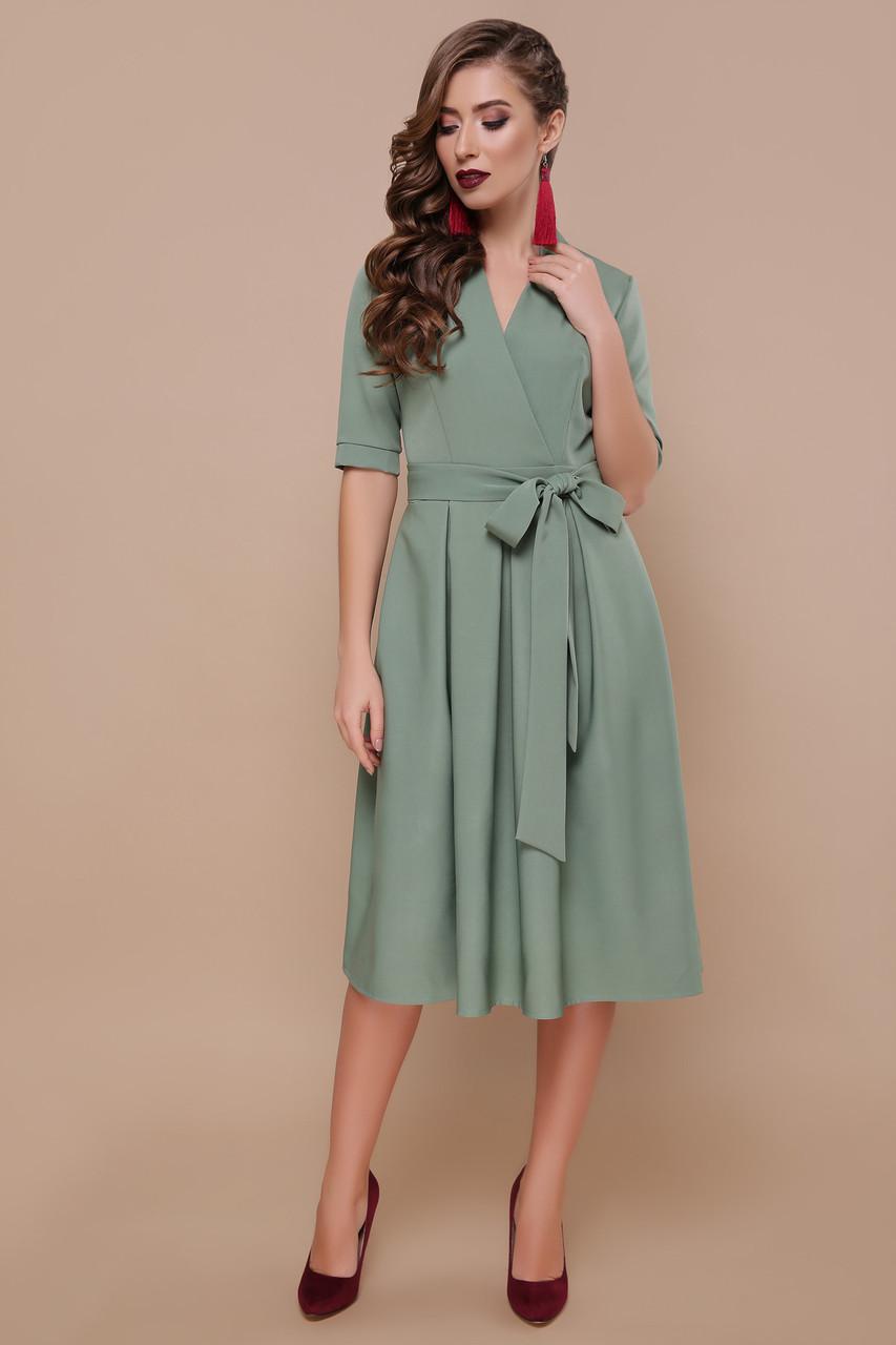 Красивое женское платье миди расклешенное цвета хаки, S(44)