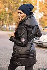 Приталенная удлиненная куртка с капюшоном, фото 3