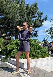 Костюм женский спортивный трикотажный с шортами AniTi 411, графитовый