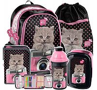 Рюкзак школьный с кошкой, комплект 5 шт. Paso