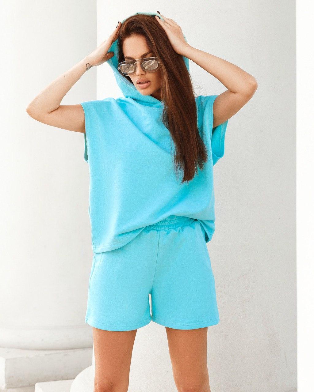 Костюм женский спортивный трикотажный с шортами AniTi 411, голубой