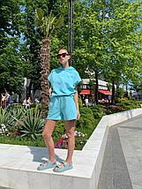 Костюм женский спортивный трикотажный с шортами AniTi 411, голубой, фото 3