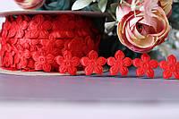 "Ажурная лента ""Маргаритка"" красного цвета ширина 1.7 см"