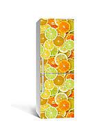Виниловая 3Д наклейка на холодильник Яркие Цитрусы (ПВХ) апельсины лимоны Фрукты Оранжевый 650*2000 мм