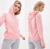 Женская розовая толстовка Худи с капюшоном из двунитки, Батник однотонный весна-осень
