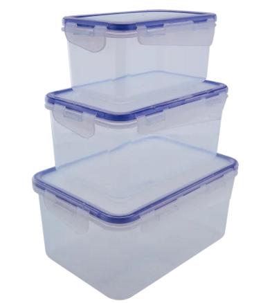 Набор контейнеров с зажимами, прямоугольных 3шт, для пищевых продуктов