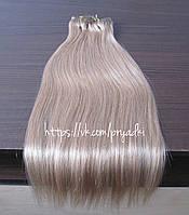 Натуральные волосы на заколках 50 см, 10 прядей, светло - русый, 16