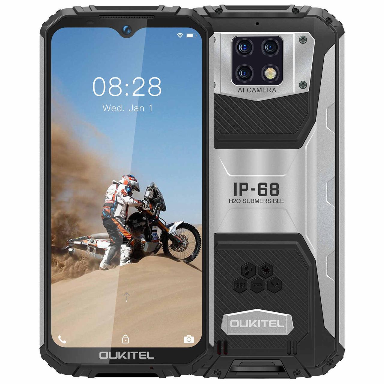 Смартфон защищенный с тройной камерой и мощной батареей 10000 мАч на 2 сим карты OUKITEL WP6 black 6/128 гб