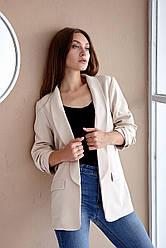 Элегантный женский жакет, ткань креп костюмный, размеры 44,46,48,50,52 (457.5) бежевый, жакет