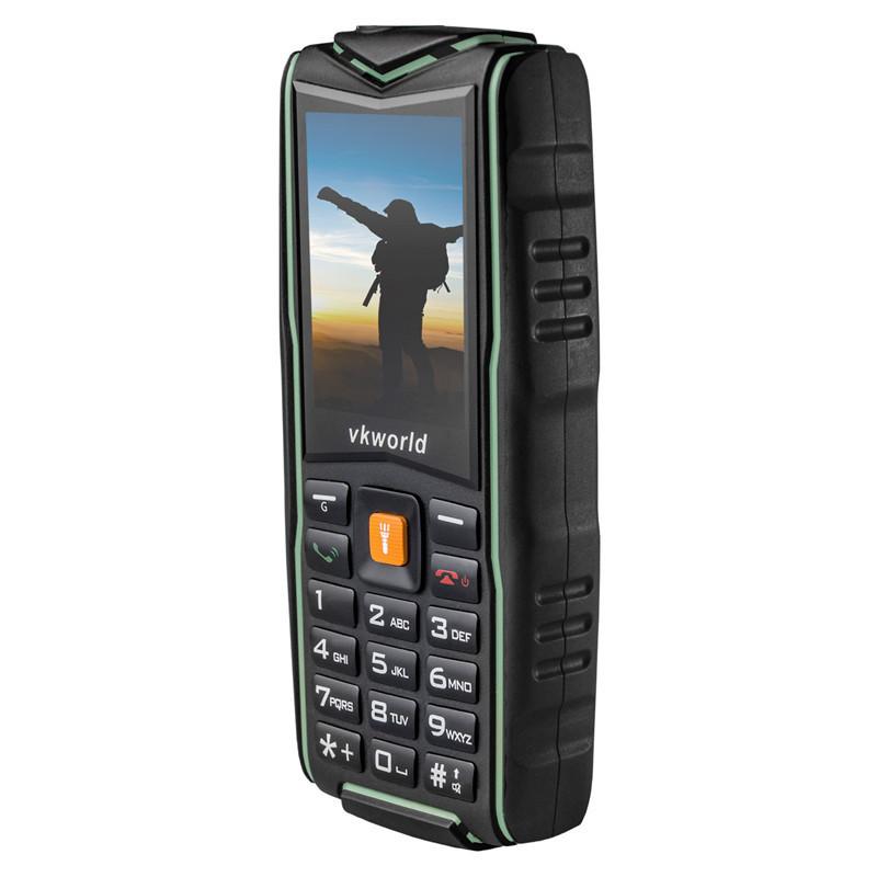 Кнопочный телефон зеленый защищенный, водонепроницаемый с большим дисплеем на 3 sim Vkworld Stone V3 green