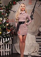 Теплое платье туника с поясом из кожи