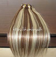 Натуральные волосы на заколках 50 см, 10 прядей, темный мелированный, 06/613