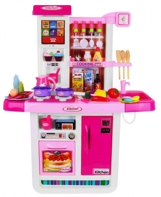 Большая интерактивная детская кухня WD-A23 с водой из крана, сенсорным экраном холодильника и посудой pink