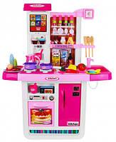 Большая интерактивная детская кухня WD-A23 с водой из крана, сенсорным экраном холодильника и посудой pink, фото 1
