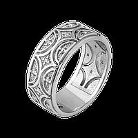 Серебряное кольцо Восточный узор с камнями