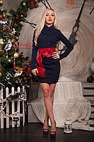 Теплое платье туника с поясом из кожи, фото 2