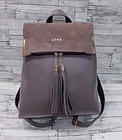 Женский кожаный рюкзак-сумка с кисточками и замшевой вставкой Zara реплика Серый