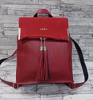 Женский кожаный рюкзак-сумка с кисточками и замшевой вставкой Zara реплика Красный