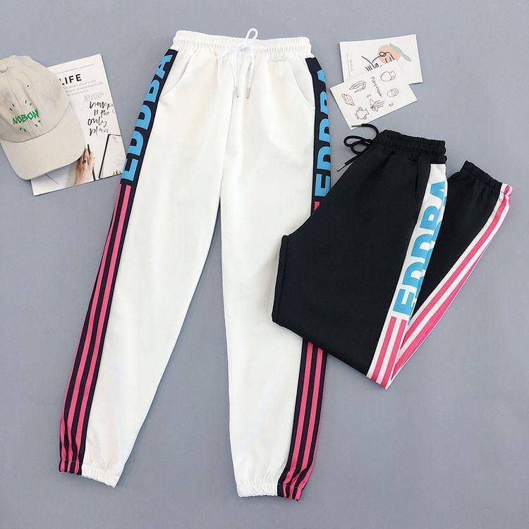 Женские спортивные штаны джоггеры на резинке с яркими лампасами 6812528