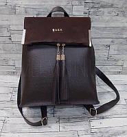 Женский кожаный рюкзак-сумка с кисточками и замшевой вставкой Zara реплика Коричневый