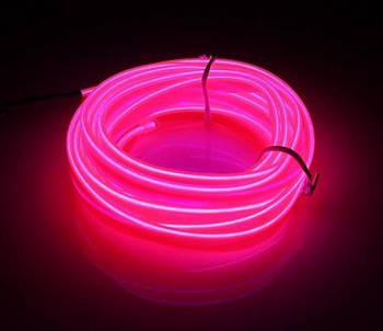 Гибкий светодиодный неон Розовый Neon Glow Light Pink - 3 метра ленты на батарейках 2 AA