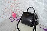 Сумка David Jones Paris кожаная черная с длинным ремешком квадрат женская, фото 10