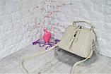 Сумка Balivija Trend на две молнии с длинным ремешком большая молочная женская, фото 7
