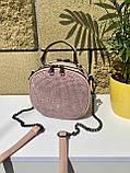 Сумочка кругляш Shine с длинным ремешком-цепочкой через плечо пудра женская, фото 4