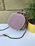 Сумочка кругляш Shine с длинным ремешком-цепочкой через плечо пудра женская, фото 10