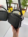 Женская сумка кросс-боди Fantasy на две молнии черная СФ570, фото 4