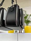 Женская сумка кросс-боди Fantasy на две молнии черная СФ570, фото 7