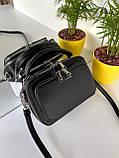 Женская сумка кросс-боди Fantasy на две молнии черная СФ570, фото 10