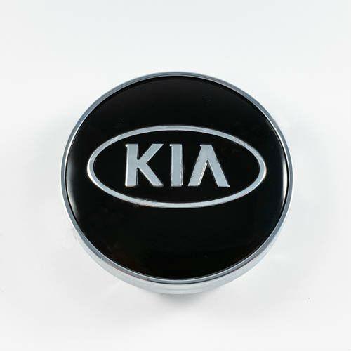 Колпачок в легкосплавные диски KIA черный/хром лого (60 мм)