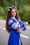 Вишите плаття синього кольору білими нитками -завжди вигідна ідея! «Крижане серце», фото 4