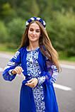 Вишите плаття синього кольору білими нитками -завжди вигідна ідея! «Крижане серце», фото 8