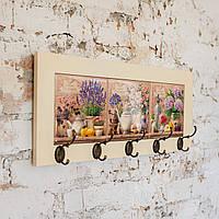 Настінна вішалка тримач для рушників з дерева та кераміки Allicienti Лаванда, троянди та гортензії 23х53 см