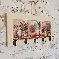 Настінна вішалка тримач для рушників з дерева та кераміки Allicienti Лаванда, троянди та мандарини 23х53 см