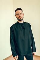 Чорна сорочка під вишивку з довгим рукавом , чоловіча