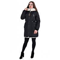 Куртка-парка зимова чорного кольору жіноча овчина