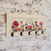 Настінна вішалка тримач для рушників з дерева та кераміки Allicienti Квіти Провансу 23х53 см