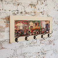Настінна вішалка тримач для рушників з дерева та кераміки Allicienti Вулиці Провансу колекції HOME 23х53 см