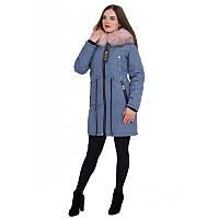 """Куртка-парка зимова """"меланж"""" синього кольору жіноча песець"""
