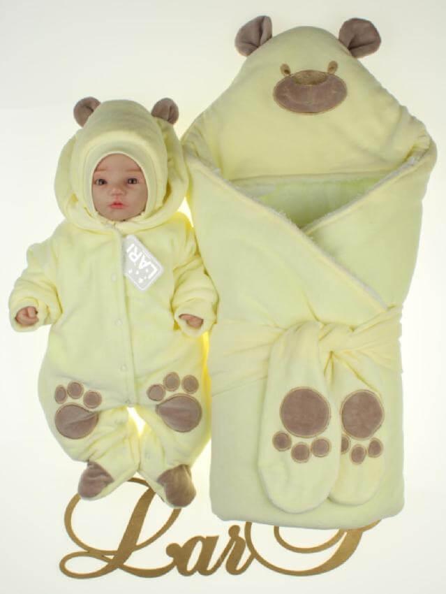 """Набор """"Панда"""" желтый велюр, зима"""