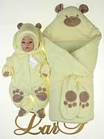 """Набор """"Панда"""" желтый велюр, зима, фото 1"""