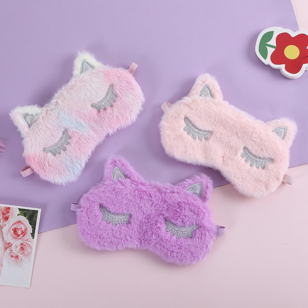 Пухнаста маска для сну Котик