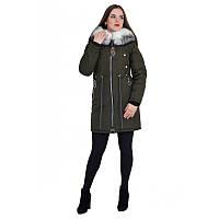 """Куртка-парка зимова """"меланж"""" кольору хакі жіноча песець"""