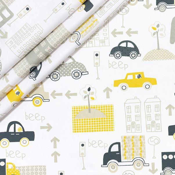 Хлопковая ткань Желтые машинки